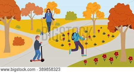 Group People Walk Park In Modern Style. Flat Character. Simple Modern Design. Communication Concept.