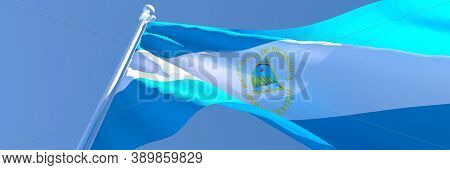 3d Rendering Of The National Flag Of Nicaragua Waving In The Wind