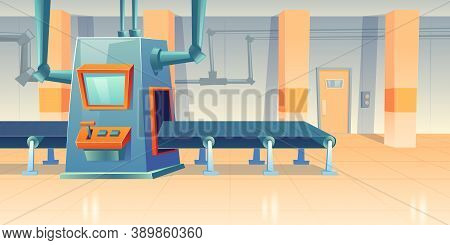 Conveyor Belt And Assembly Machine At Factory, Plant Or Warehouse. Vector Cartoon Interior Of Worksh