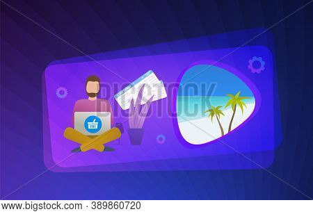 Buy Vacation Travel Tour And Flight Ticket With Online Booking Service Concept Illustration. Man Mak