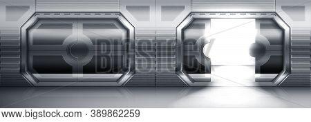 Futuristic Metal Sliding Doors In Spaceship, Submarine Or Laboratory. Vector Realistic Interior Of E