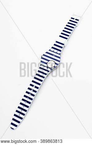 London, Gb 07.10.2020 - Swatch Trendy Fashion Swiss Made Quartz Watch Striped Design Isolated On Whi