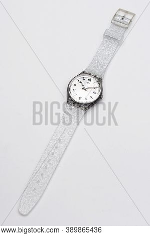 London, Gb 07.10.2020 - Swatch Cheapest Fashion Swiss Made Quartz Watch Isolated On White Background