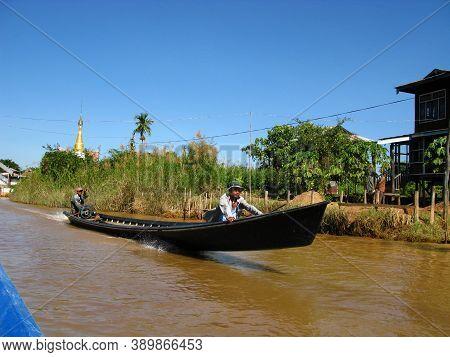 Inle Lake, Myanmar - 10 Jan 2010: The Boat In The Village On The Coast Of Inle Lake, Myanmar
