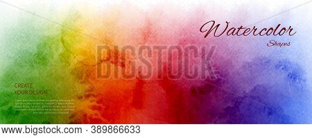 Abstract Horizontal Background Designed With Rainbow Color Watercolor Stains. Artistic Vector Used A