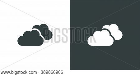 Overcast. Isolated Icon On Black And White Background. Weather Glyph Vector Illustration
