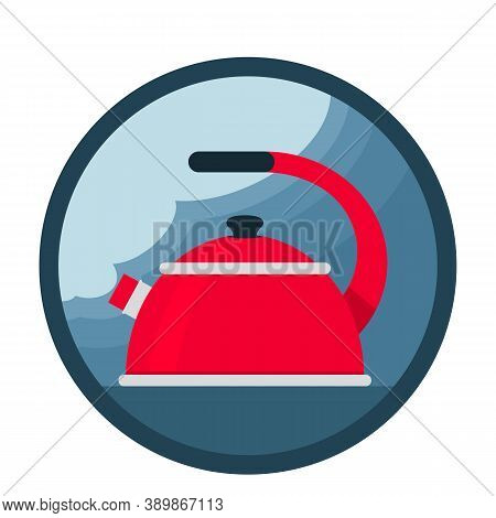 A Red Boiling Kettle Is On The Stove. Steam From The Kettle Spout. Icon. Vector Illustration