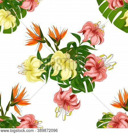 A Pattern Of Lilies And Tropical Flowers.tropical Flowers And Lilies In A Color Seamless Pattern.