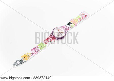 London, Gb 07.10.2020 - Swatch Childrens Trendy Fashion Swiss Made Quartz Watch Isolated On White Ba