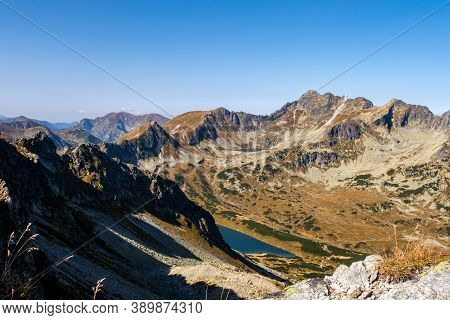 Five Polish Ponds Valley (dolina Pieciu Stawow) In Tatra Mountains With Czarny Staw Polski And Zadni