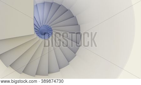 A white spiral staircase 3d illustration