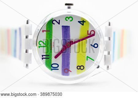 London, Gb 07.10.2020 - Swatch Childrens Swiss Made Quartz Watch Isolated On White Background. Trans