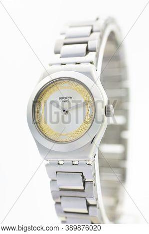 London, Gb 07.10.2020 - Swatch Fashion Swiss Made Quartz Spirograph Design Watch. Metal Case Stylish