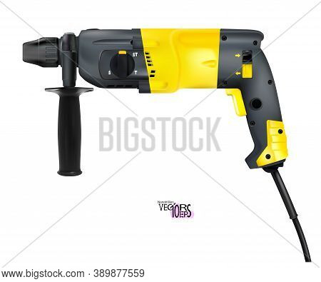 Manual Electric Realistic Rotary Hammer Isolated On White Background. Construction Tool Detailed Ico