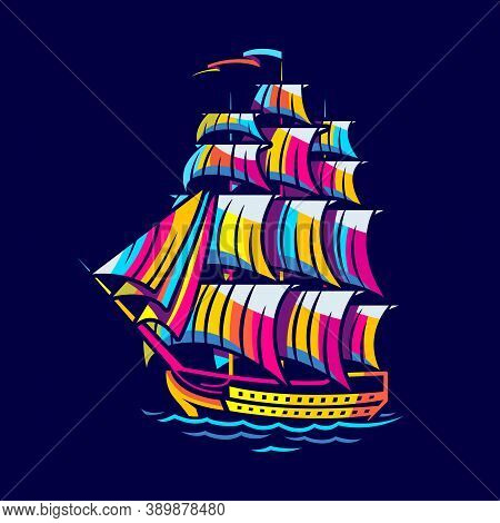 Multicolored Battleship Of The 17th Century On A Dark Background
