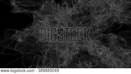 Floating White Smoke On Black Background. Dry Ice Smoke Fog For Overlay Blending Mode. Abstract Smok