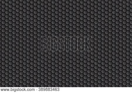 Dark Hexagon Carbon Fiber Texture. Honeycomb Metal Texture Steel Background. Metal Grid Black Steel