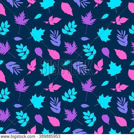 Pink And Blue Tea Leaves Pattern. Seamless Background Vector Illustration