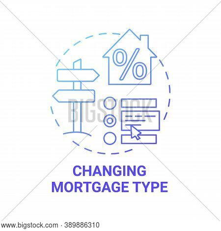 Changing Mortgage Type Concept Icon. Mortgage Refinance Benefit Idea Thin Line Illustration. Redempt