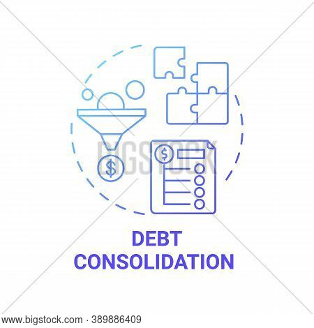 Debt Consolidation Concept Icon. Mortgage Refinance Benefit Idea Thin Line Illustration. Single Paym