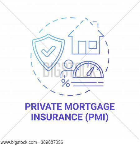 Private Mortgage Insurance Concept Icon. Mortgage Payment Element Idea Thin Line Illustration. Pmi.