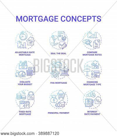 Mortgage Concept Icons Set. Loan Housing Idea Thin Line Rgb Color Illustrations. Changing Mortgage T