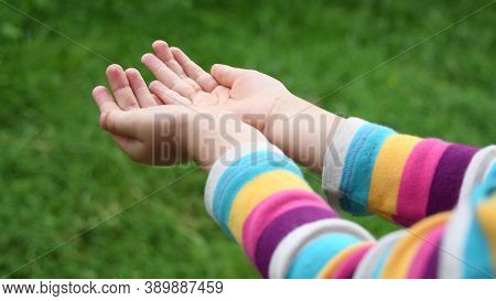 Closeup Of Wet Hands Of Little Girl In Colorful Striped Sleeve Shirt. Kid Plays In Drizzle Catching