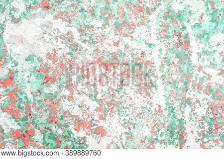 Old Grungy Cracked Green And Coral Weathered Wall With Layers Of Paint Peeling Off. Textured Monochr
