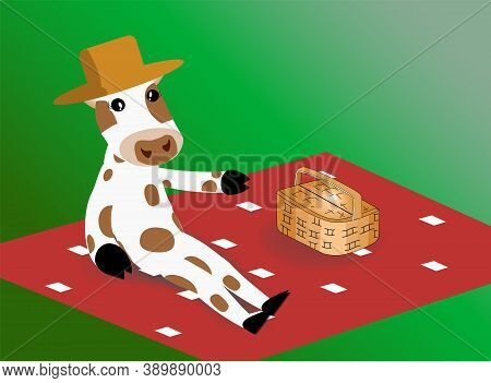 The Bull Is Sitting On A Picnic Concept. Spring Concept. Cow In A Hat With A Basket For Groceries. T