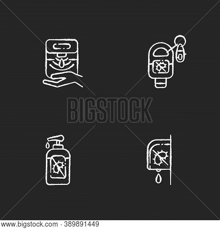 Hygienic Hand Sanitizers Chalk White Icons Set On Black Background. Automatic Dispenser For Antibact