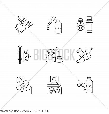 First Aid Linear Icons Set. Injury Treatment. Illness Remedy. Medical Equipment For Hurt Patient. Cu