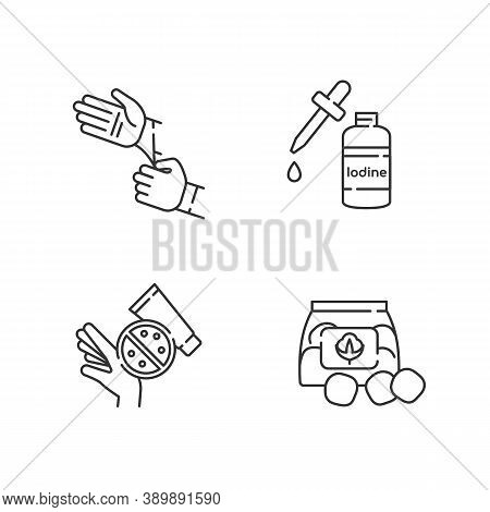 Medical Equipment Linear Icons Set. Disposable Sterile Gloves. Iodine In Bottle. Skin Rash Cream. Cu