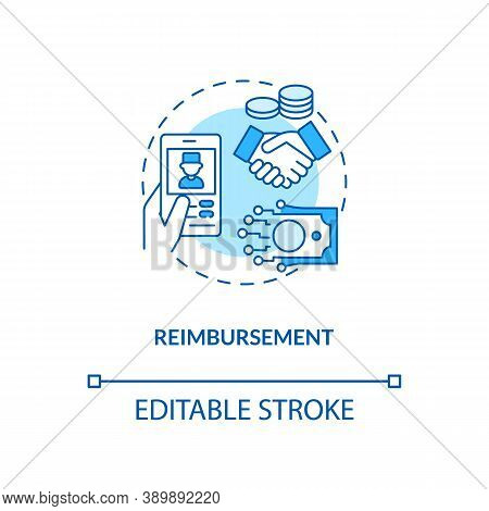 Reimbursement Concept Icon. Telemedicine Challenges. Future Healthcare Payment Variety. Medical Trea