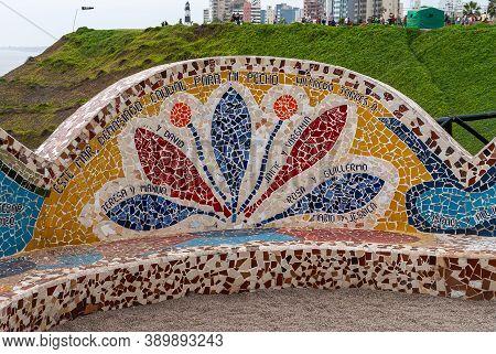 Miraflores, Peru - December 4, 2008: Parque Del Amor, Love Park. Artful Bench Decorated With Colorfu
