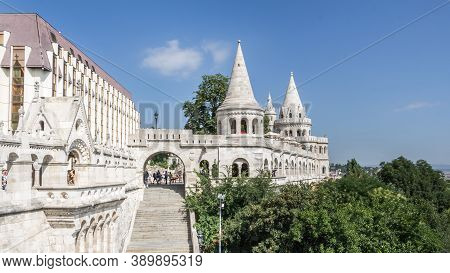 Budapest, Hungary - July 21, 2015: Castle District With Matthias Church Church Of The Assumption Of