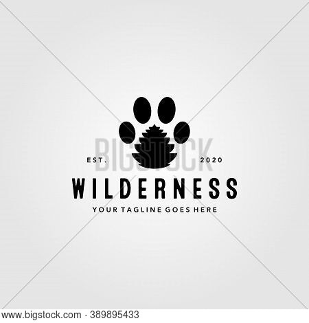 Animal Footprint Symbol With Pine Cone Logo Vector Illustration Design, Clever Logo Design