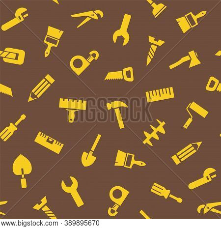 Hand Tools, Construction, Seamless Pattern, Color, Brown. Yellow Icons On A Brown Field. Colored Fla