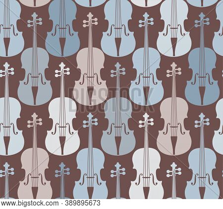 Violins, Seamless Pattern, Gray. Grey And Blue Violins On A Dark Field. Color, Flat Decor. Vector.