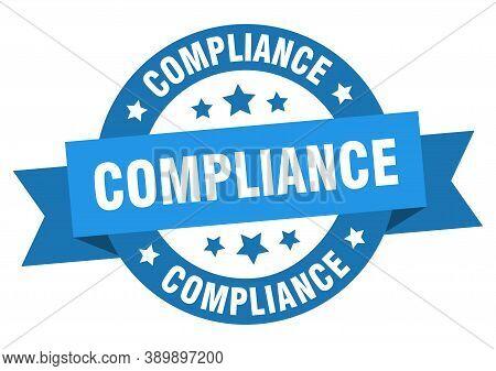 Compliance Ribbon. Compliance Round Blue Sign. Sticker