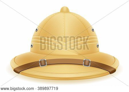 Pith Helmet Hat For Tourism Hunting And Expeditions Vector Illustration Isolated On White Background