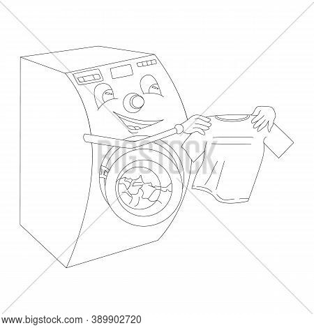 Washing Machine With Hands Checks The Cleanliness Of The Shirt. Popular Home Appliances Concept, Vec