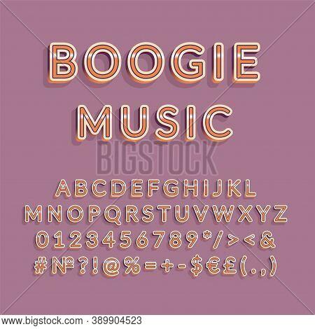 Boogie Music Header Vintage 3d Vector Alphabet Set. Retro Bold Font, Typeface. Pop Art Stylized Lett