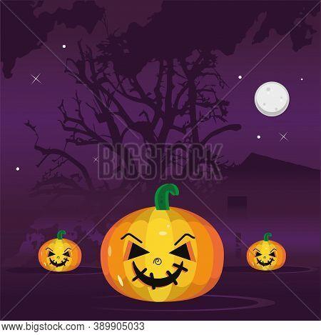 Happy Pumpkins In A Gloomy Night. Halloween Season - Vector