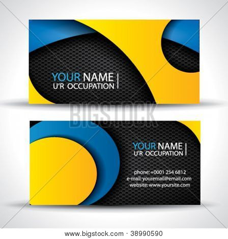 Modern vector business card - blue, orange and black colors