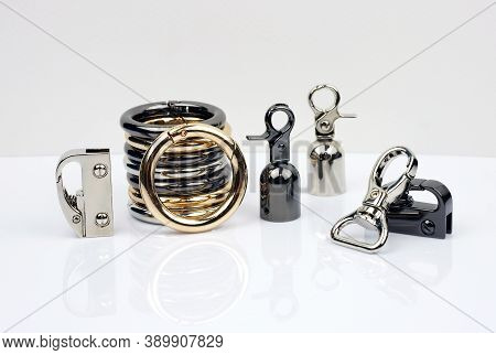Metal Accessories For Making Bags. Carabiner Metal Colors Gold, Silver And Black Silver. Set Of Side
