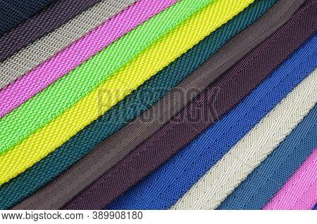 Colored Polyester Belts, Sample Palette For Making Shoulder Straps For Bags And Backpacks. Belt Stra