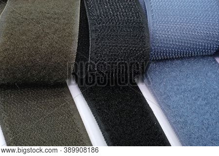 Colored Nylon Velcro Fastener For Making Patches, Chevrons, For Sewing Clothes And Bags. Black And G