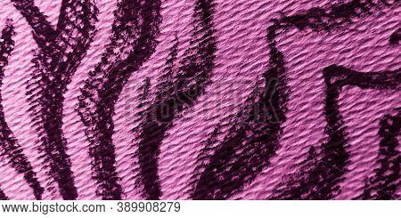 Violet Tiger Tropical Pattern. Stripes Texture. Purple Fabric. Animal Print Background. Purple Tiger