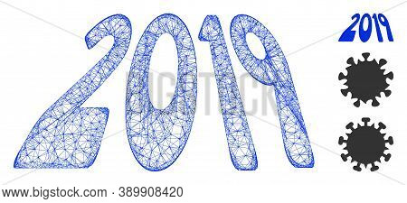Mesh 2019 Perspective Text Polygonal Web 2d Vector Illustration. Model Is Based On 2019 Perspective