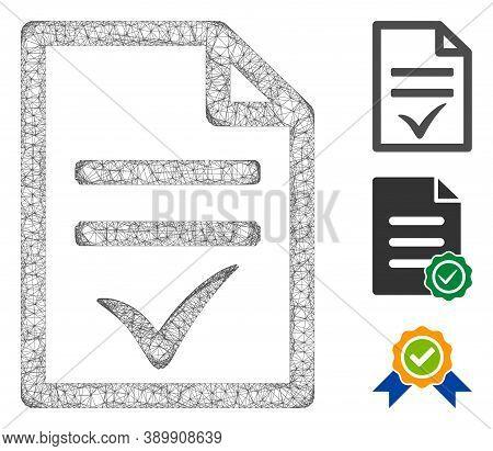 Mesh Agreement Document Polygonal Web 2d Vector Illustration. Carcass Model Is Based On Agreement Do
